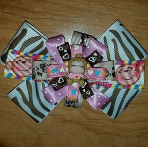 Other - Pink and brown monkey bow
